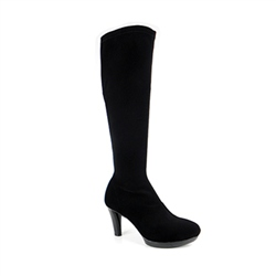 Carl Scarpa Black High Heel Knee Boots - Lora