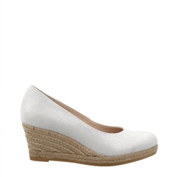 Carl Scarpa Silver Slip-On Wedge Espadrille Sandals - Valeria