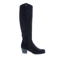 Carl Scarpa Navy Low Heel Knee Boots - Savanna