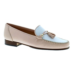 Carl Scarpa Frida Blush White Slip-On Tassel Loafers
