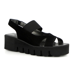 Carl Scarpa - Ireland Black Flatform Wave Sole Sandals - Marea