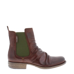 Carl Scarpa Cavalina Brown Ruched Chelsea Ankle Boots