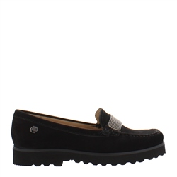 Carl Scarpa Bailee Black Slip-On Diamonte Embellished Loafers
