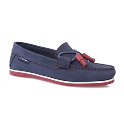 Carl Scarpa Navy Slip-On Tassel Loafers - Catalina