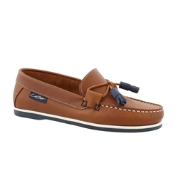 Carl Scarpa Brown Slip-On Tassel Loafers - Catalina