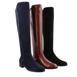 Emma Navy Suede Knee-High Boots