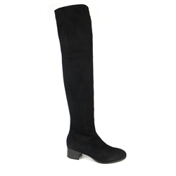Carl Scarpa Evelina Black Mid Heel Over-The-Knee Boots