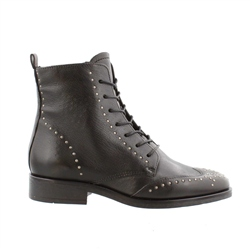Carl Scarpa Black Flat Lace Up Studded Ankle Boots - Adelaide