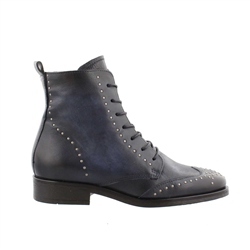 Carl Scarpa Navy Lace Up Studded Ankle Boots - Adelaide