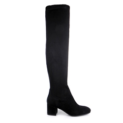 Carl Scarpa Black Mid-Block Heel Over-The-Knee Boots - Samira