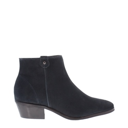 Carl Scarpa Navy Low Heel Suede Ankle Boots - Serena