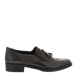 Carl Scarpa Otavia Grey Slip-On Brogue Tassel Loafers