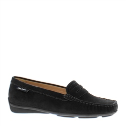 Bettina Black Suede Slip-On Loafers