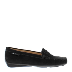Carl Scarpa Bettina Black Suede Slip-On Loafers