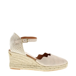Carl Scarpa Brittany Beige Metallic Sandals