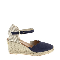Carl Scarpa Brittany Navy Suede Espadrille Wedge Sandals