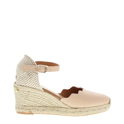 Carl Scarpa Brittany Nude Leather Espadrille Wedge Sandals