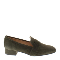 Carl Scarpa Ginevra Olive Suede Loafers