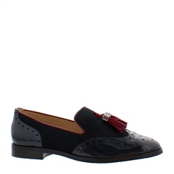 Alma Navy Leather Loafers