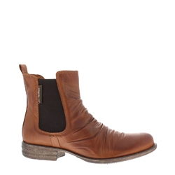 Cavalina Tan Ruched Chelsea Ankle Boots