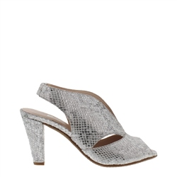 Carl Scarpa Delia Silver Snake High Heel Court Shoes