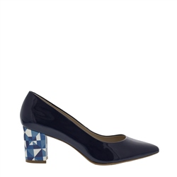 Carl Scarpa Priscilla Navy Block Heel Court Shoes