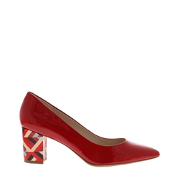 Carl Scarpa Priscilla Red Block Heel Court Shoes