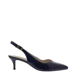 Carl Scarpa Raemira Navy Kitten Heel Court Shoes
