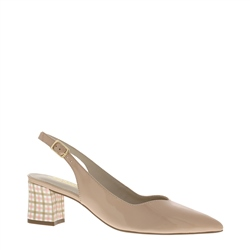 Reinette Nude Gingham Heel Court Shoes