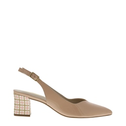 Carl Scarpa Reinette Nude Gingham Heel Court Shoes