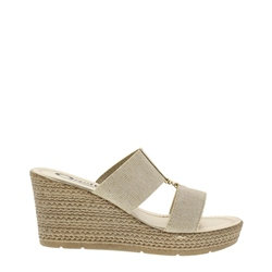 Carl Scarpa Dulcina Gold Wedge Sandals