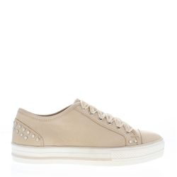 Carl Scarpa Carlotta Cream Lace Up Trainers