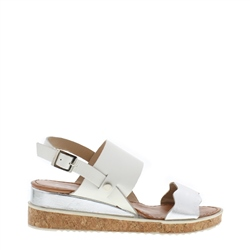 Carl Scarpa Wynita White Leather Sandals
