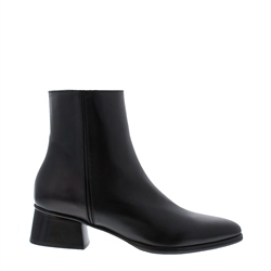Megan Black Leather Ankle Boots