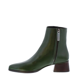Megan Green Leather Ankle Boots