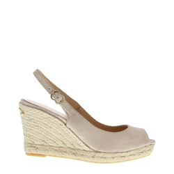 Carl Scarpa Cadenza Beige Metallic Wedge Sandals
