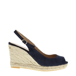 Carl Scarpa Cadenza Navy Wedge Sandals