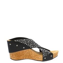 bf19532fec71 Carl Scarpa Donella Black Wedge Sandals