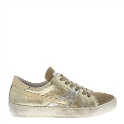 Carl Scarpa Porsha Gold Distressed Leather Trainers