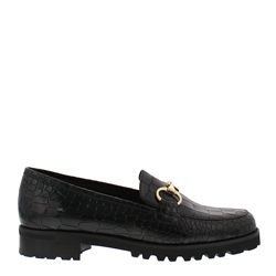 Carl Scarpa Scarlett Black Croc Loafers
