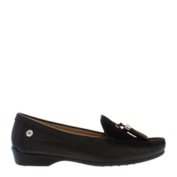 Carl Scarpa Ines Black Leather Loafers