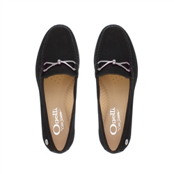 Honora Black Suede Loafers