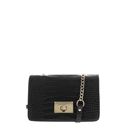 Carl Scarpa Fidela Black Croc Leather Handbag