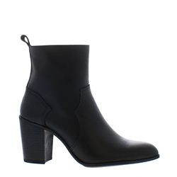 Alinda Black Leather Ankle Boots