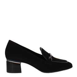 Carl Scarpa Kendra Black Suede Heeled Loafers