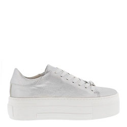 Carl Scarpa Polina Silver Leather Trainers