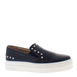 Petra Navy Leather Trainers