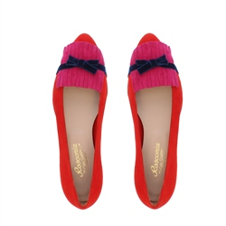 Annabelle Red Suede Flat Shoes