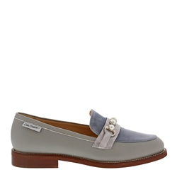 Carl Scarpa Lolita Grey and Blue Leather Loafers