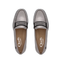 Bailee Pewter Leather Loafers